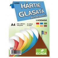 Hartie glasata autocolanta A4 set 6 culori, Ecada