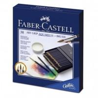 Creioane colorate acuarela Art Grip 38 culori+pensula,  Faber-Castell