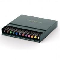 Set 12 markere cu varf pensula Faber-Castell Pitt Artist Pen Brush Studio