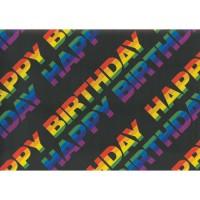 Hartie impachetat neagra Happy Birthday 2m x 70cm, Herlitz
