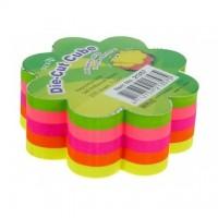 Notes adeziv cub color - floare, 67 x 67 mm, 250 file, HOPAX - 5 culori fluorescente