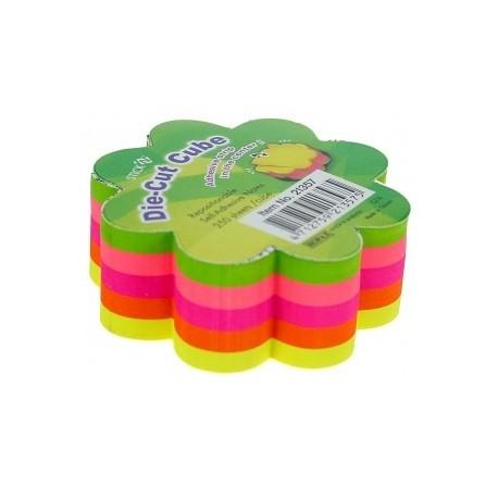 Notes adeziv cub color - floare, 67x67 mm, 250 file, Stick'n - 5 culori fluorescente