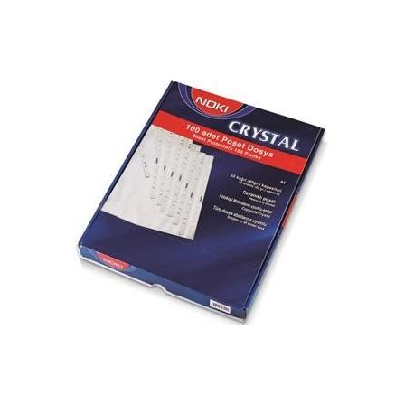 File plastic Cristal A4, 90 microni, 100 buc./set, Noki