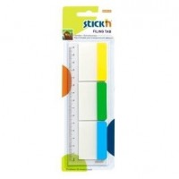 Stick index plastic transparent cu margine color 37 x 50 mm, 3 x 10 buc/set