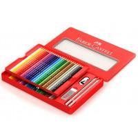 Creioane colorate Faber-Castell 48 culori + 4 accesorii cutie metal