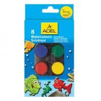 Acuarele 8 culori+pensula Adel