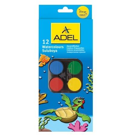 Acuarele Premium 12 culori (tablete 32mm)+pensula Adel