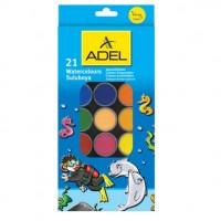Acuarele 21 culori + pensula Adel