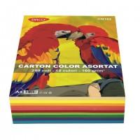 Carton A4 10 culori asortate, 250 coli, 160g/mp, Daco