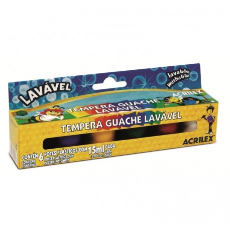 Tempera guase lavabile 6 culori 15 ml Acrilex