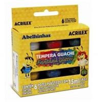 Guase cu sclipici 6 culori 15 ml Acrilex