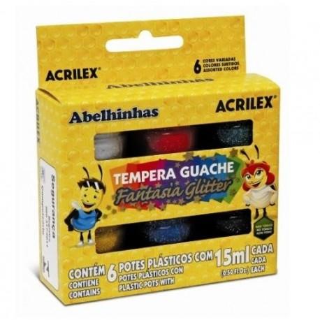 Tempera guase cu sclipici 6 culori 15 ml Acrilex