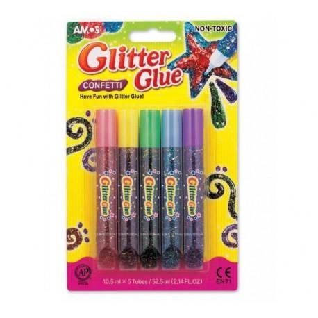 Lipici cu sclipici set 5 culori de 10,5 ml Amos Confetti