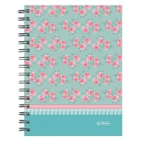 Agenda A5 cu spira 100 file Herlitz Lady Like Flowers