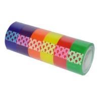 Banda adeziva colorata 18mm x 10m, 6 buc/set