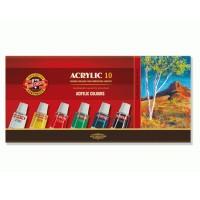 Culori acrilice 10 pe set, 16ml, Koh-I-Noor
