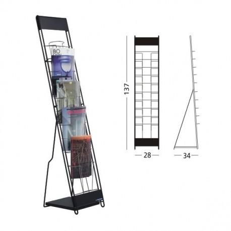 Stand metalic pentru cataloage 10 x A4, 137 x 30 x 23 cm, SMIT Classic negru