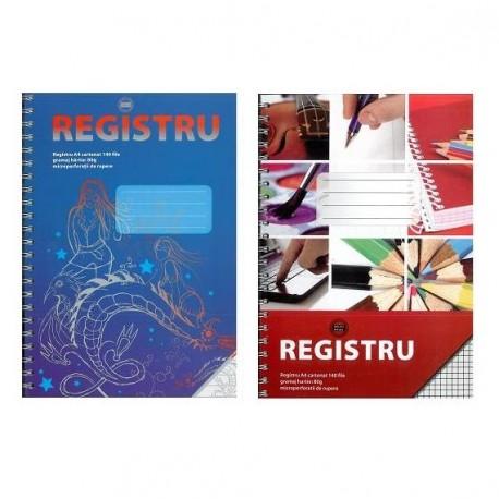 Registru A4 cu spira, 140 file