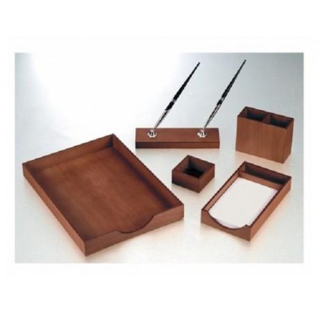 Set birou Osaka lemn cires inchis, 5 piese, Bestar