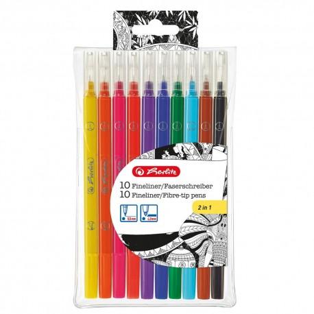 Carioca + liner set 10 culori pentru adulti Herlitz