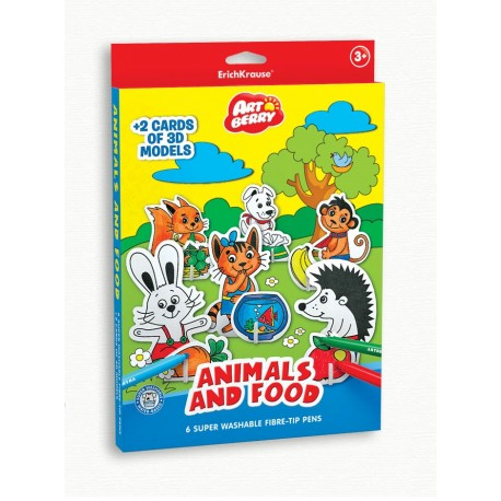 Puzzle 3D pentru coorat Art Berry Animals & Food, ErichKrause