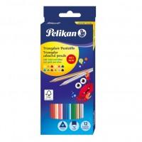 Creioane colorate Pelikan 12 culori triughiulare, cu auriu si argintiu