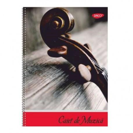 Caiet muzica A4 cu spira, 24 file