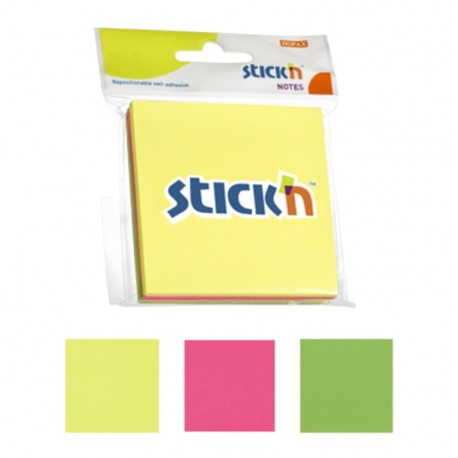 Notes adeziv 76x76 mm, 3x50 buc/set, Stick'n - 3 culori fosforescente