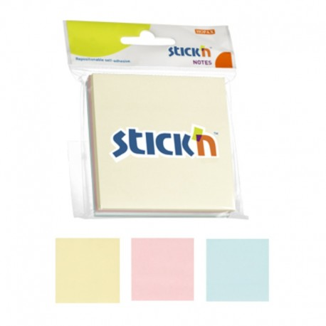 Notes adeziv 76x76 mm, 3x50 buc/set, Stick'n - 3 culori pastel