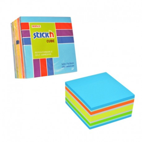 Notes adeziv cub color, 76x76 mm, 400 file, Stick'n