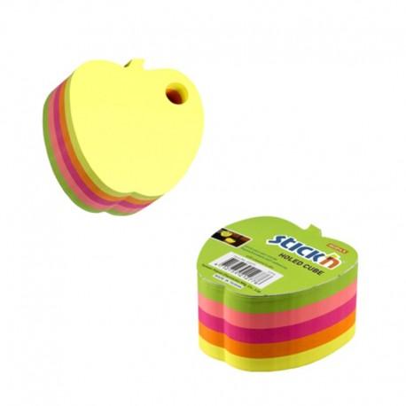 Notes adeziv cub color - mar, 70x70 mm, 400 file, Stick'n - 5 culori fluorescente