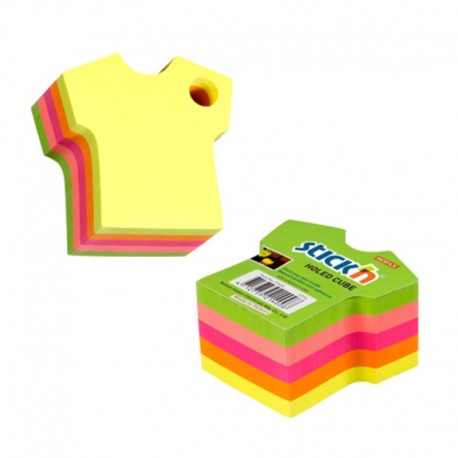 Notes adeziv cub color - tricou, 70x70 mm, 400 file, Stick'n - 5 culori fluorescente