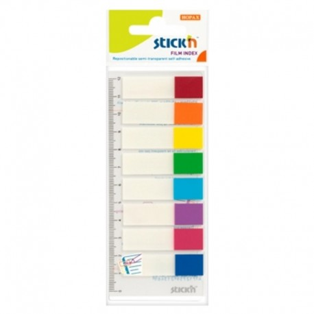 Stick index plastic color 45 x 12 mm, 8 x 15 buc/set, - 8 culori neon