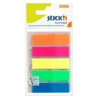 Stick index plastic transparent color 45 x 12 mm, 5 x 25 buc/set, - 5 culori neon