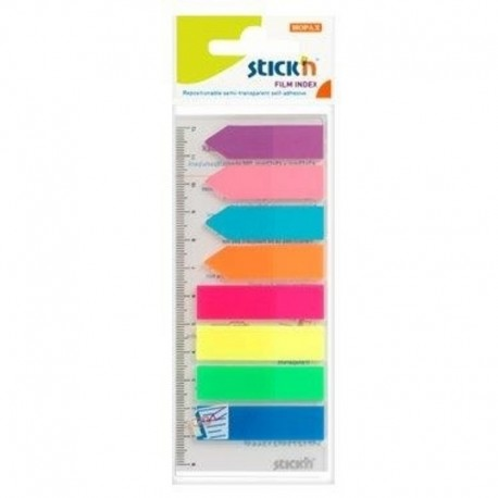 Stick index plastic transparent color 45 x 12 mm, 8 x 25 buc/set + index sageata, - 8 culori neon