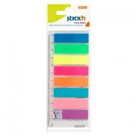 Stick index plastic transparent color 45 x 12 mm, 8 x 25 buc/set + rigla, - 8 culori neon