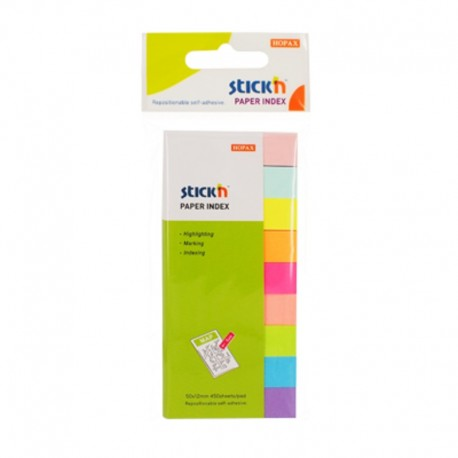Stick index hartie color 45 x 12 mm, 8 x 15 buc/set, - 8 culori neon