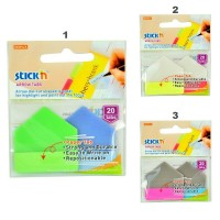 Stick index plastic transparent color 5 x 12mm + 45 x 25 mm, 3 x 20 buc/set - 4 culori