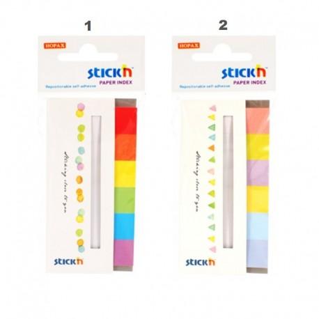 Stick index hartie alba cu banda 45 x 15 mm, 6 x 30 buc/set, 6 culori