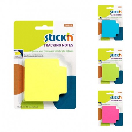 Tracking notes 70 x 70 mm, 50 file/set, Stick'n - culori neon