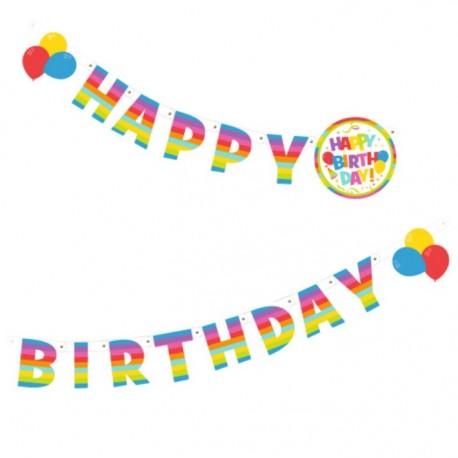Ghirlanda litere Happy Birthday, 1,6 m, Herlitz