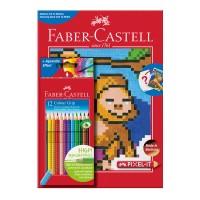 Set creioane colorate Faber-Castell Grip 12 culori + carte colorat pixel