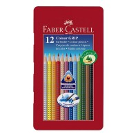 Creioane colorate Faber-Castell Grip set 12 culori cutie metal