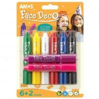 Culori pentru fata si piele set 8 culori, Amos