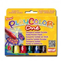 Tempera solida 6 culori Playcolor One, Instant