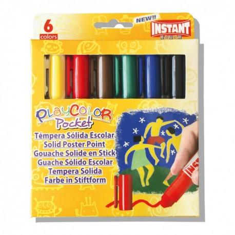 Tempera solida 6 culori Playcolor Pocket, Intant