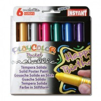 Tempera solida 6 culori metalizate Playcolor Pocket, Instant