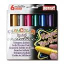 Tempera solida 6 culori metalizate Playcolor Pocket, Instant