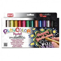 Tempera solida 12 culori metalizate Playcolor Pocket, Instant
