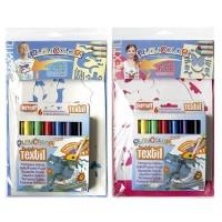 Set 6 markere textile Playcolor + sabloane, Instant